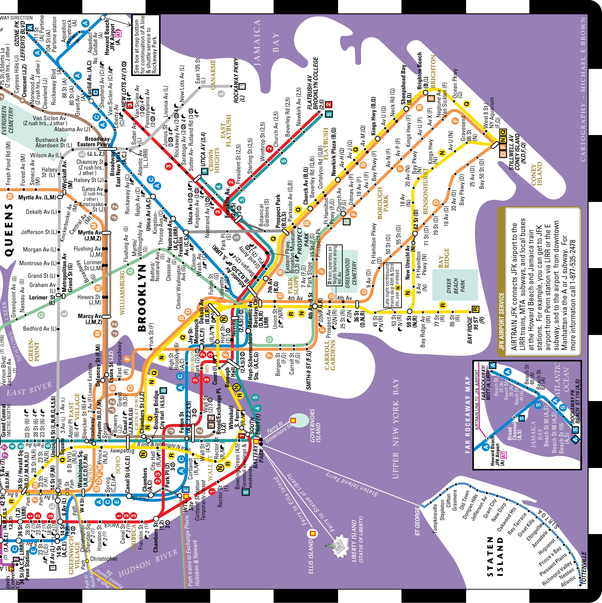 Streetwise Transitwise New York City Subway Map Manhattan Subway
