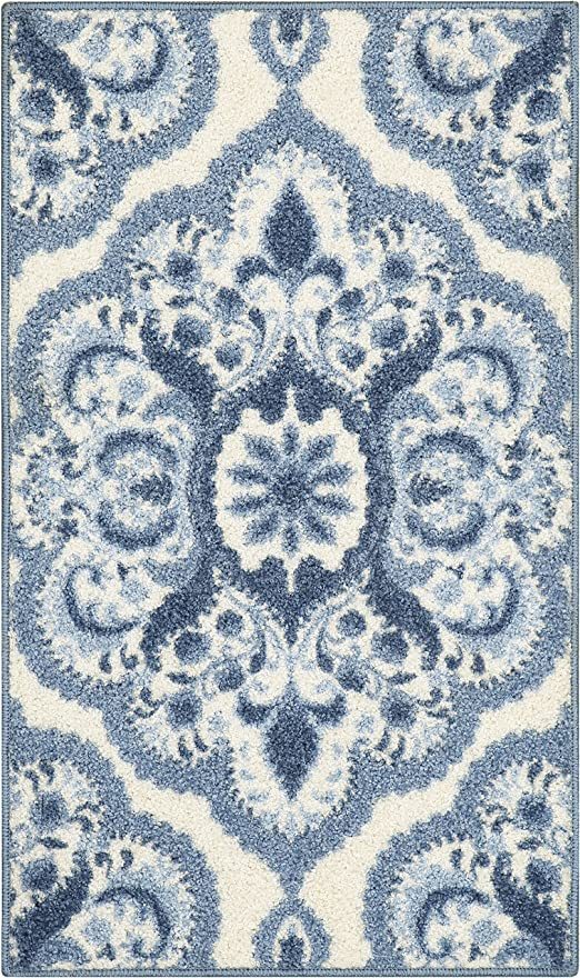 Maples Rugs Vivian Medallion Kitchen Rugs Non Skid Accent Area Carpet [Made  in USA], 1\'8 x 2\'10, Blue