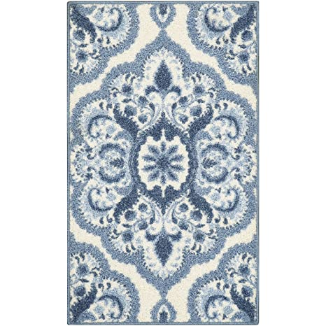 Maples Rugs Kitchen Rug - Vivian 2 x 3 Non Skid Small Accent Throw Rugs  [Made in USA] for Entryway and Bedroom, 1\'8 x 2\'10, Blue