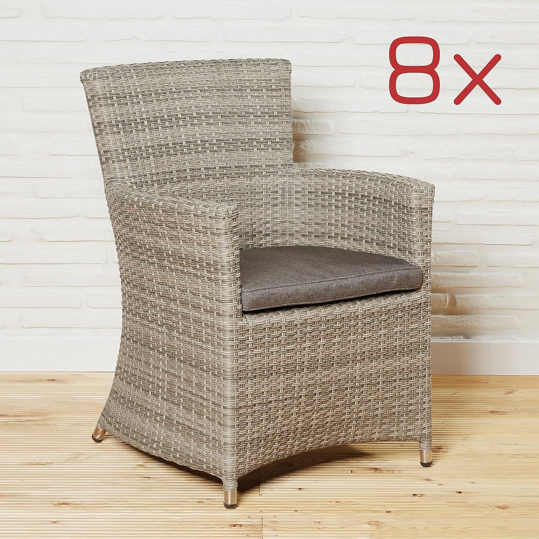 8er Set Polyrattan Gartenstühle Gartensessel braun Gartenmöbel Set ...