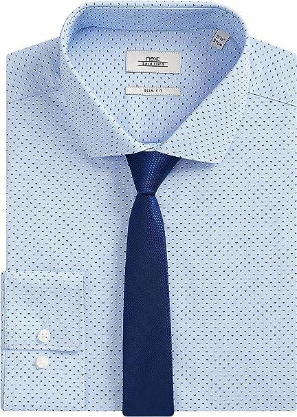 next Hombre Juego De Corbata Y Camisa Entallada Estampada Azul ...