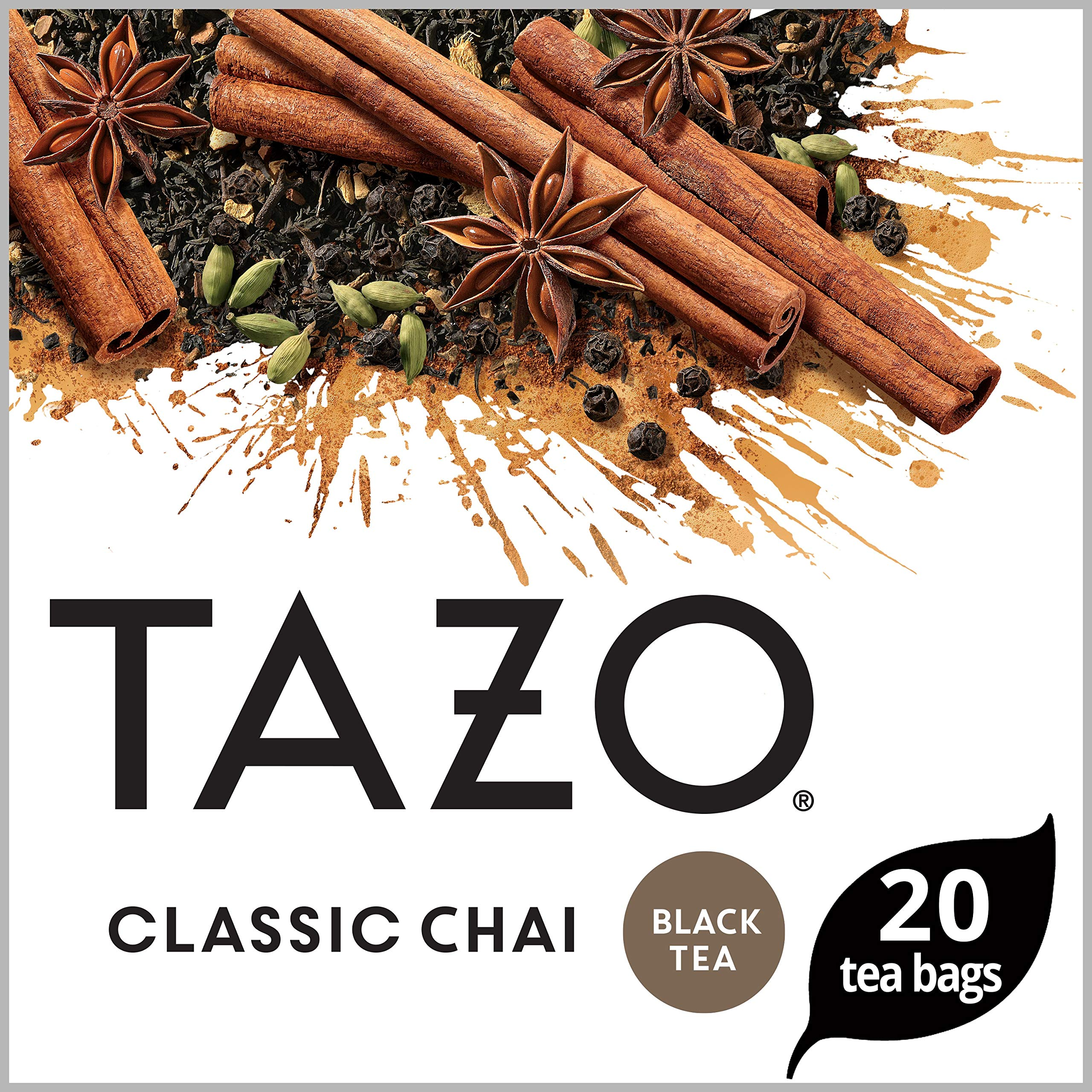 Tazo Black tea for a delightful cup of chai Classic Chai serve hot or iced 20 count, Pack of 6 (Packaging may vary) by Tazo