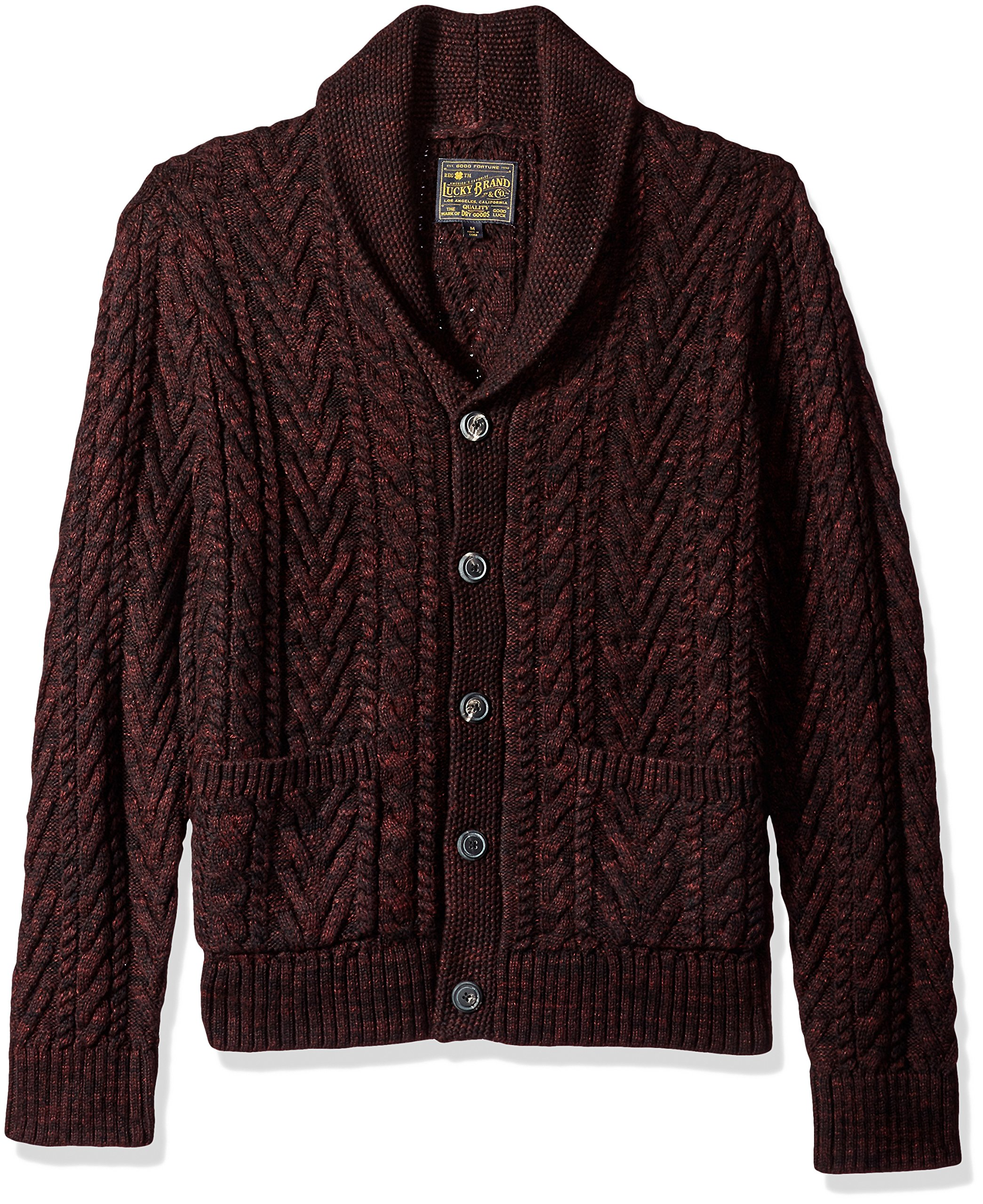 Lucky Brand Men's Cable Knit Cardigan Sweater, Burgundy, XL