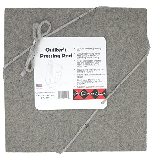 "Its Time to Quilt Quilter's Pressing Pad 14""x14"" by 100% wool ironing mat-Holds heat when pressing to provide professional results with ease-Conveniently sized for travel"