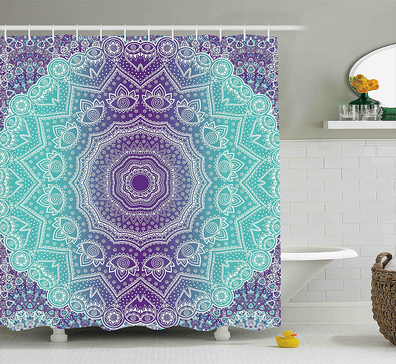 Ambesonne Purple And Turquoise Shower Curtain Hippie Ombre Mandala Inner Peace Meditation With Ornamental Art Fabric Bathroom Decor Set Hooks