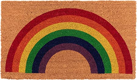New Kaf Home Coir Doormat With Heavy Duty Weather Resistant Non Slip Pvc Backing 17 By 30 Inches 0 6 Inch Pile Height Perfect For Indoor And Outdoor Use Rainbow Everything Else