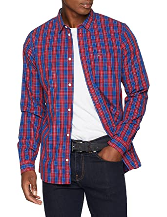 Tommy Jeans Hombre Pocket Camisa vaquera Manga Larga Normal