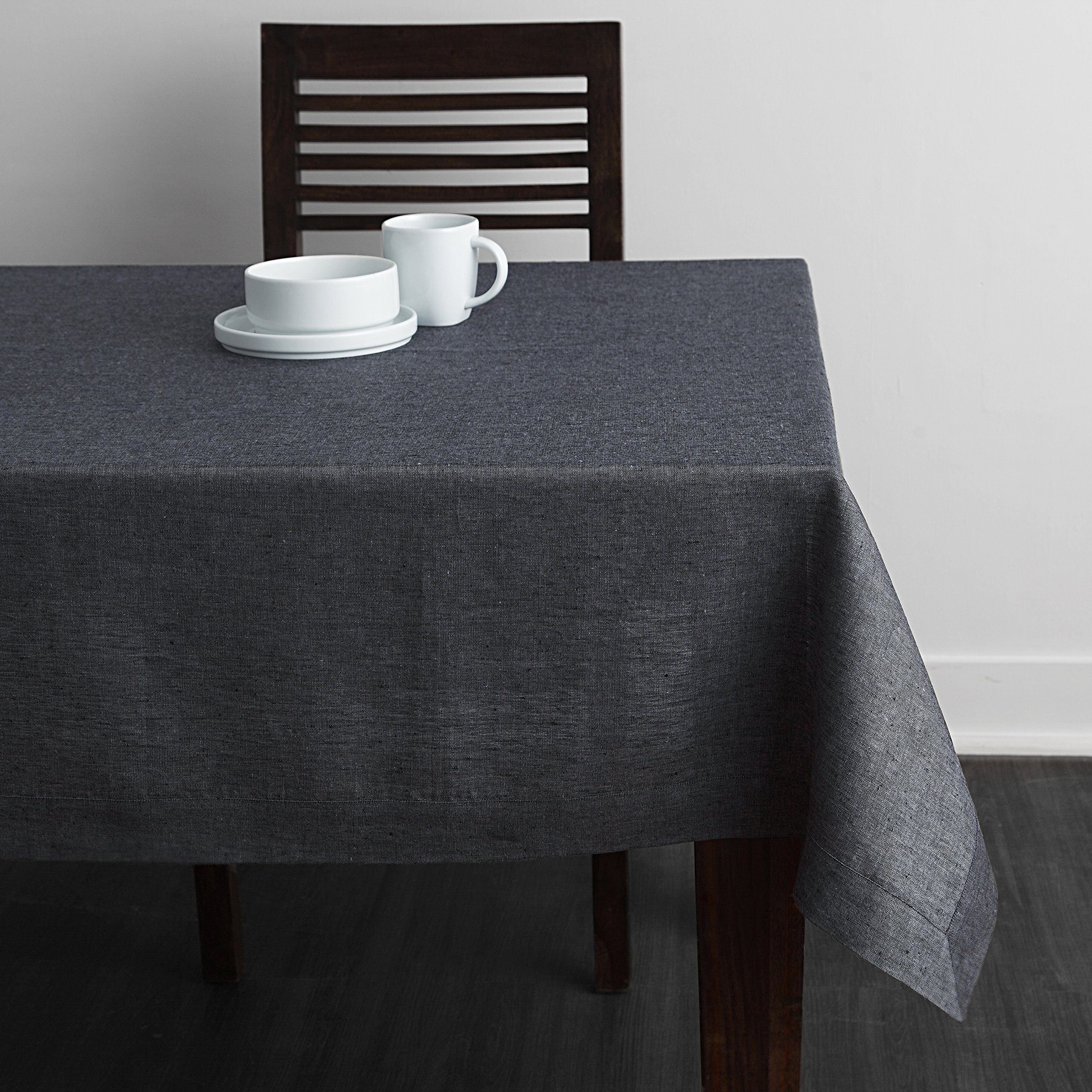 Solino Home 100% Linen Tablecloth - 60 x 108 Inch Grey, Natural Fabric, European Flax - Athena Rectangular Tablecloth for Indoor and Outdoor use