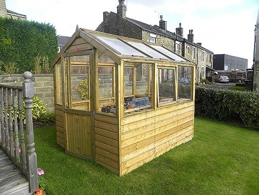 Invernadero de madera de pinelap, 10 x 6, tanalizado T & G, con ...