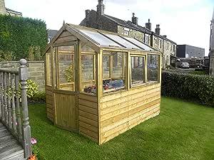 Invernadero de madera de pinelap, 10 x 6, tanalizado T & G, con acristalamiento.: Amazon.es: Jardín