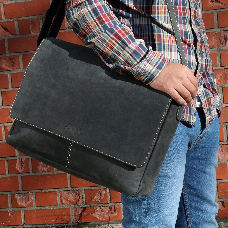 SID & VAIN Messenger Bag äkta läder laptopväska Spencer stor affärsväska 15,6 tum laptop axelväska laptopfack läderväska herr Svart-svart