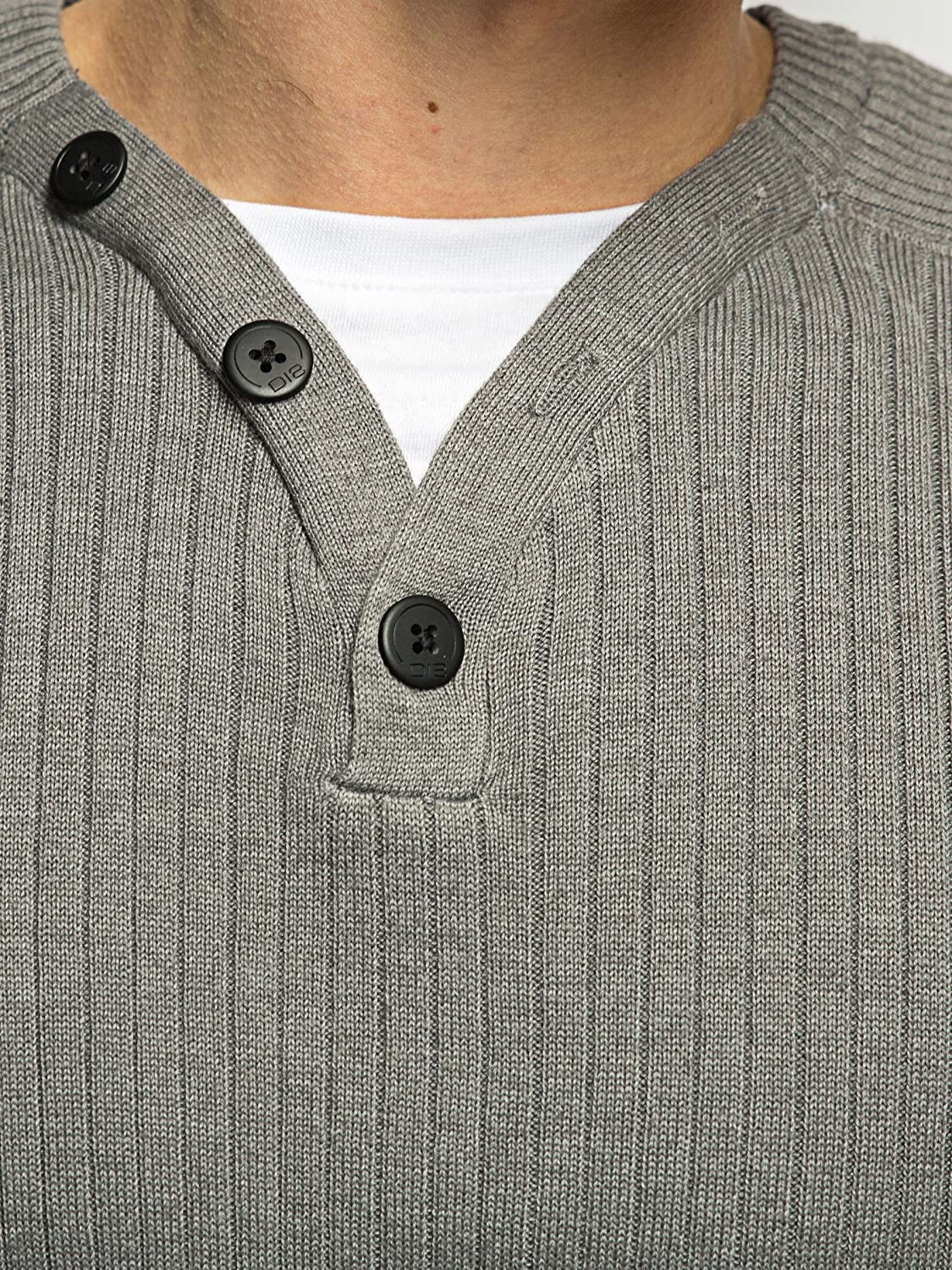Mens Dissident Jumper | Button Front Y Neck Ribbed Sweater | Military Mens Knitwear | Size S M L XL