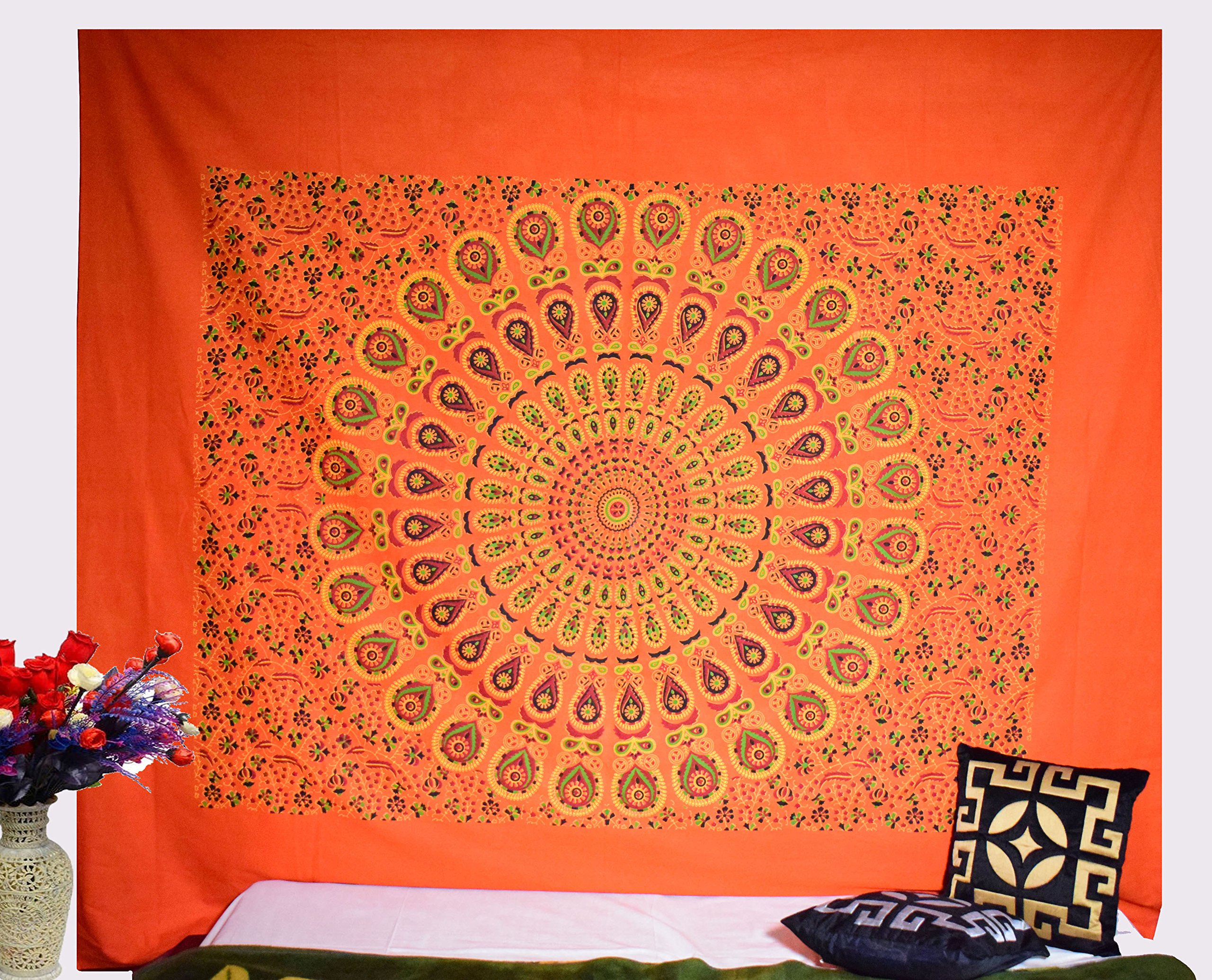 Hashcart Handmade Wooden Block Print Wall Hanging Tapestry/Cotton Tapestry/Cotton Bed Spread/Cotton Bedding Sheet/Cotton Bedsheet, King Size Wall Hanging Home Decor