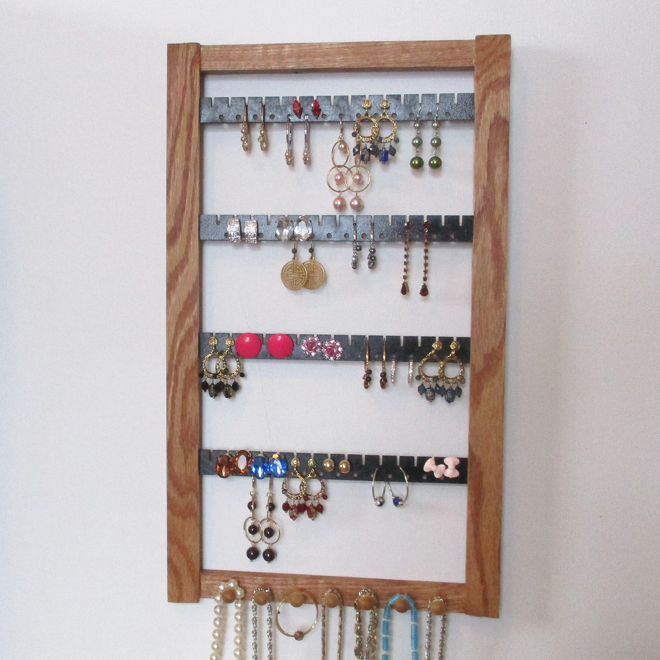 Jewelry Storage, Earring Holder, Necklace Holder, Jewelry Organizer, Earring Storage, Jewelry Display, Oak Jewelry Storage, Oak Display