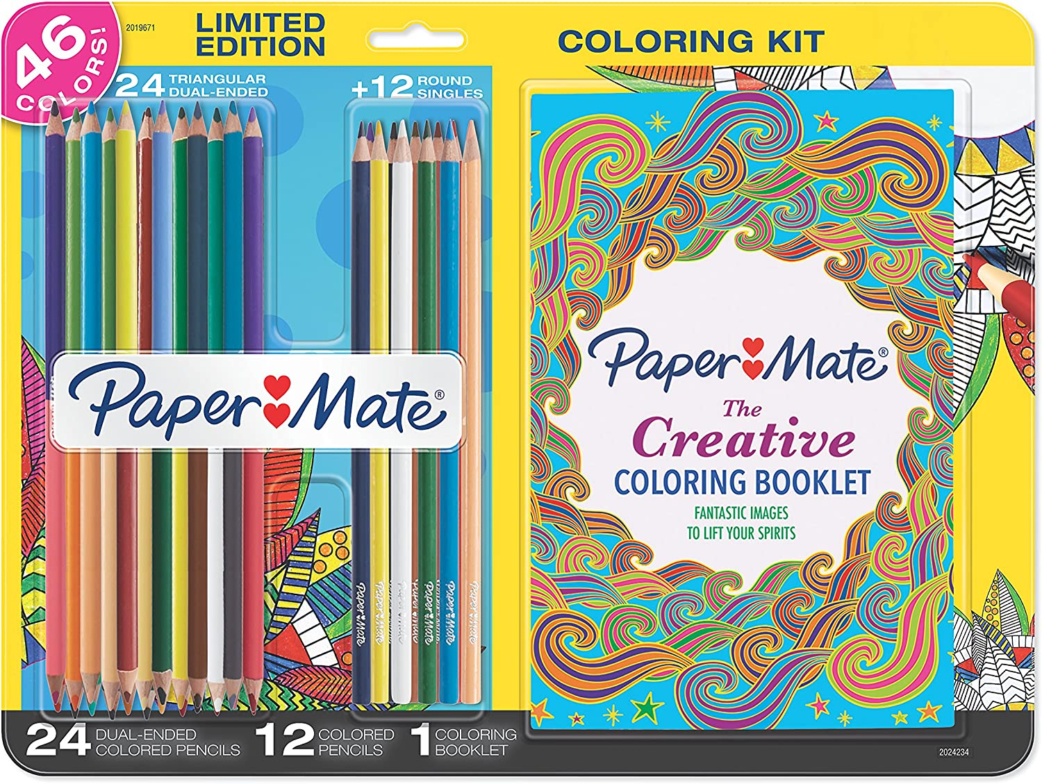 Paper Mate Colored Pencils Adult Coloring Kit, Single and Dual Ended, Assorted Colors with Creative Adult Coloring Booklet, 37 Count