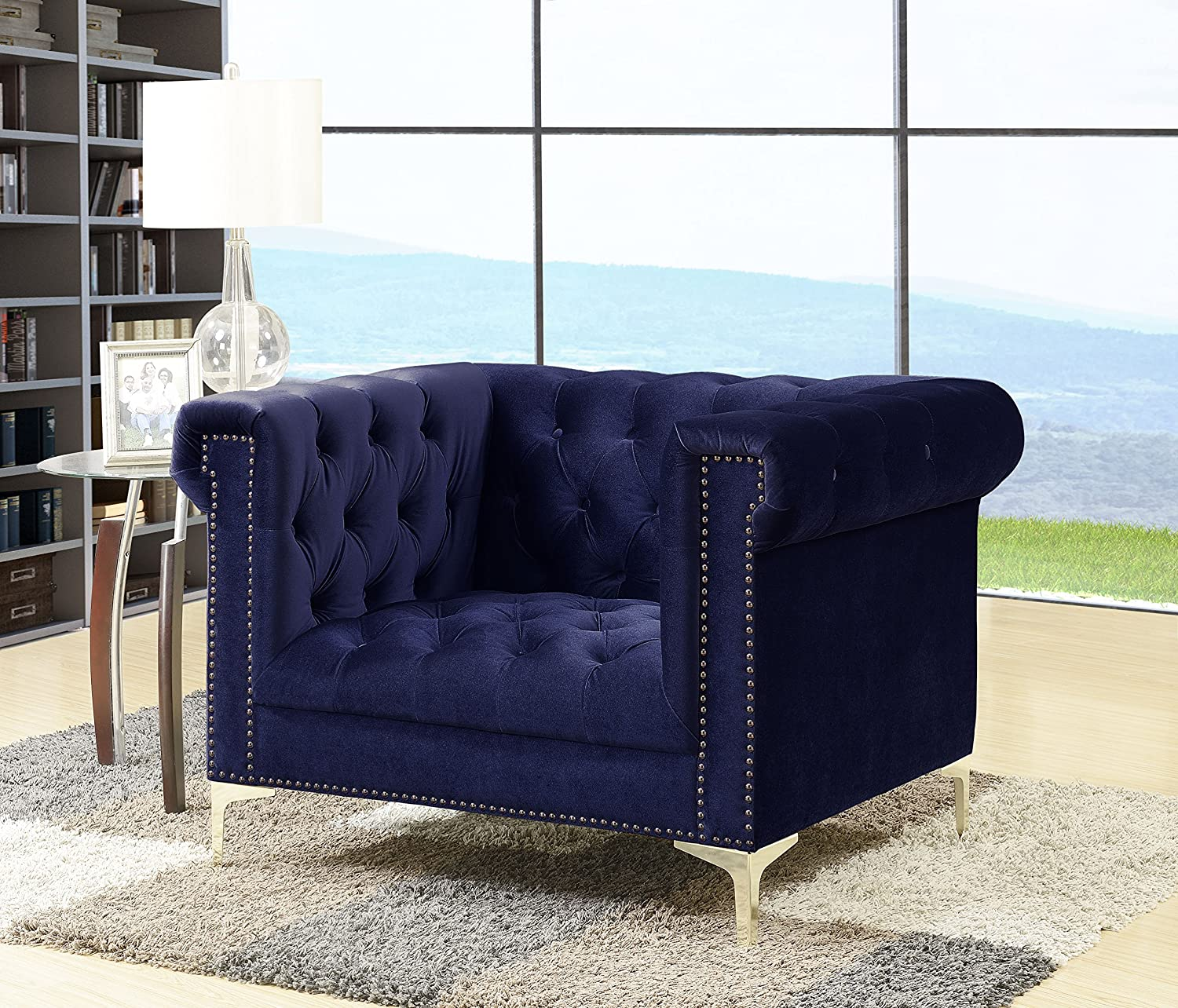 Iconic Home Gold Navy Bea Velvet with Nail head Trim Tone Metal Club Chair