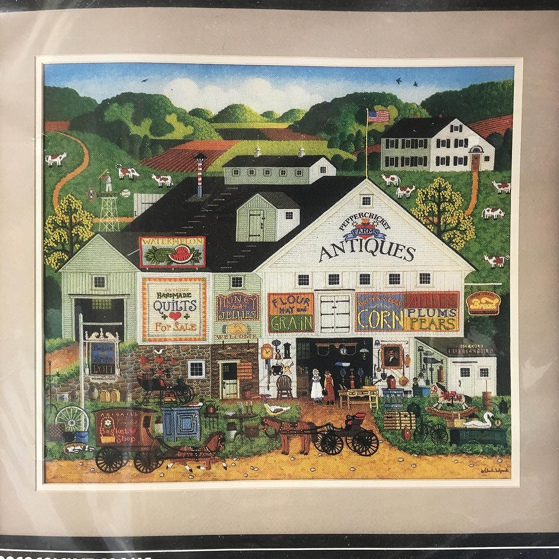 寸法by Charles Wysocki PeppercricketファームCrewelステッチキット# 1320 Retired/ヴィンテージ1986 /Made in USA   B079JQBJX6