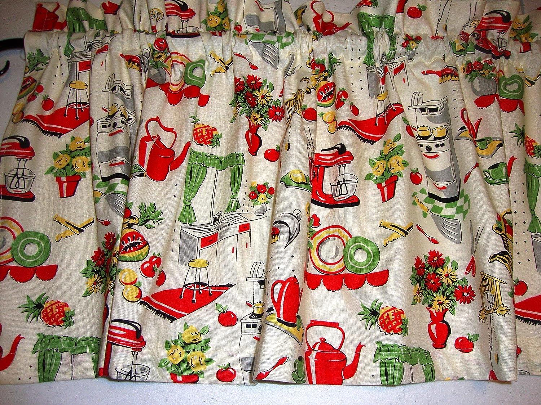 Retro 1950 S Kitchen Valance Curtain Window Treatment Red Green Yellow On Cream Mid Century Handmade