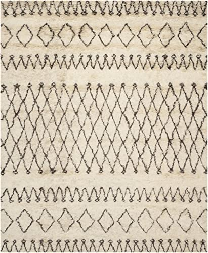 Safavieh Casablanca Shag Collection CSB851A Handmade Ivory and Natural Premium Wool Cotton Area Rug 10' x 14'