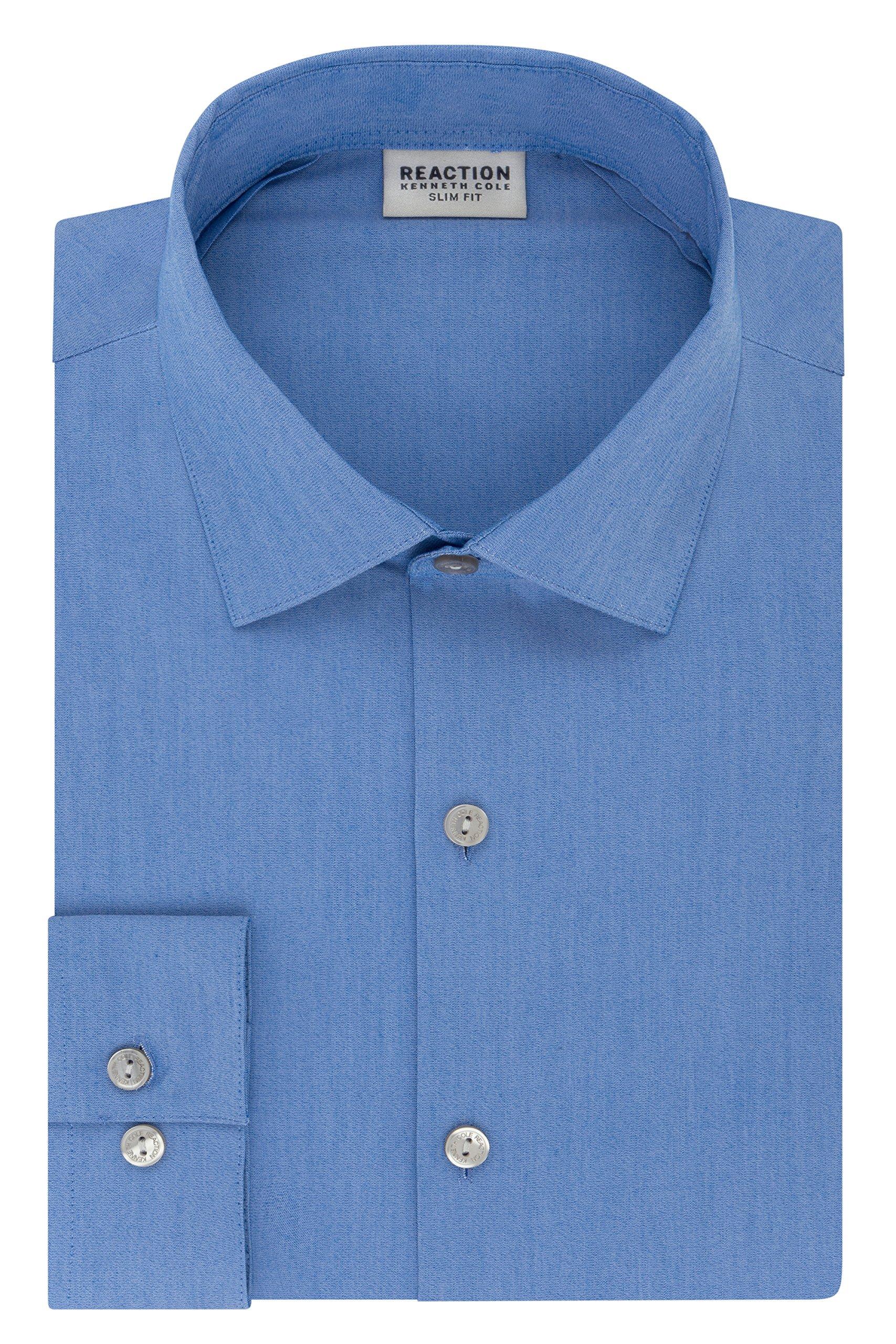 Kenneth Cole REACTION Men's Technicole Slim Fit Solid Spread Collar Dress Shirt, Multi/Blue, 15'' Neck 34''-35'' Sleeve