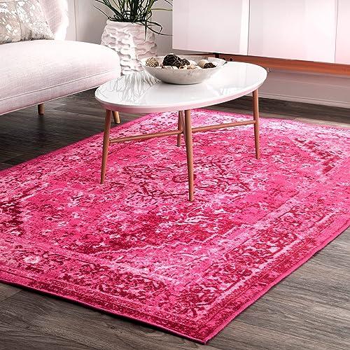 nuLOOM MCGZ01B Reiko Vintage Persian Area Rug, 3 x 5 , Pink