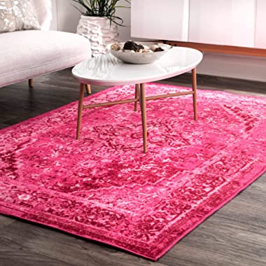 nuLOOM Vintage Persian Reiko Large Area Rug, 9' x 12', Pink