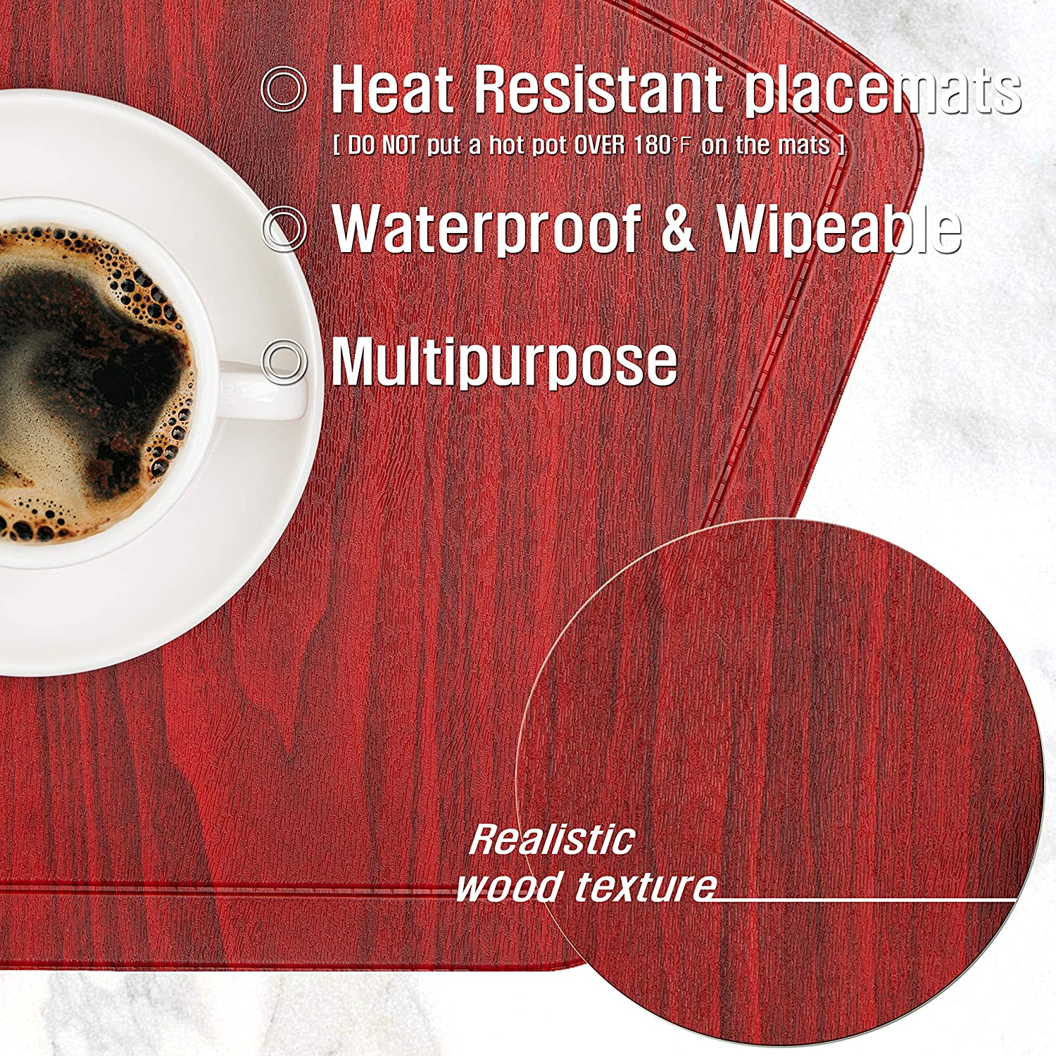 IMMOKAZ Round Placemat for Dining Heat Insulation Stain Resistant Non-Slip Waterproof Washable Wipe Clean PU Fan Shape Wedge Kitchen Table Mat Set (6, Pu_Cherry Red): Home & Kitchen