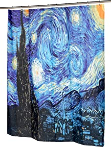 """Carnation Home Fashions The Starry Night Fabric Shower Curtain, 72""""L x 70""""W"""