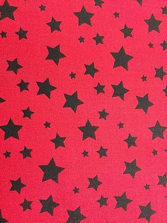 Tela de estrella roja negra para vestido o manualidades, 100 ...