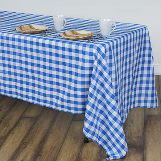 """Blue White Checkered 60x102/"""" RECTANGLE Polyester Tablecloth Picnic Linens Dinner"""