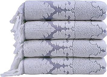 Nysa 100% auténtico algodón turco adorno floral Jacquard mano flecos toalla de baño (4 piezas): Amazon.es: Hogar