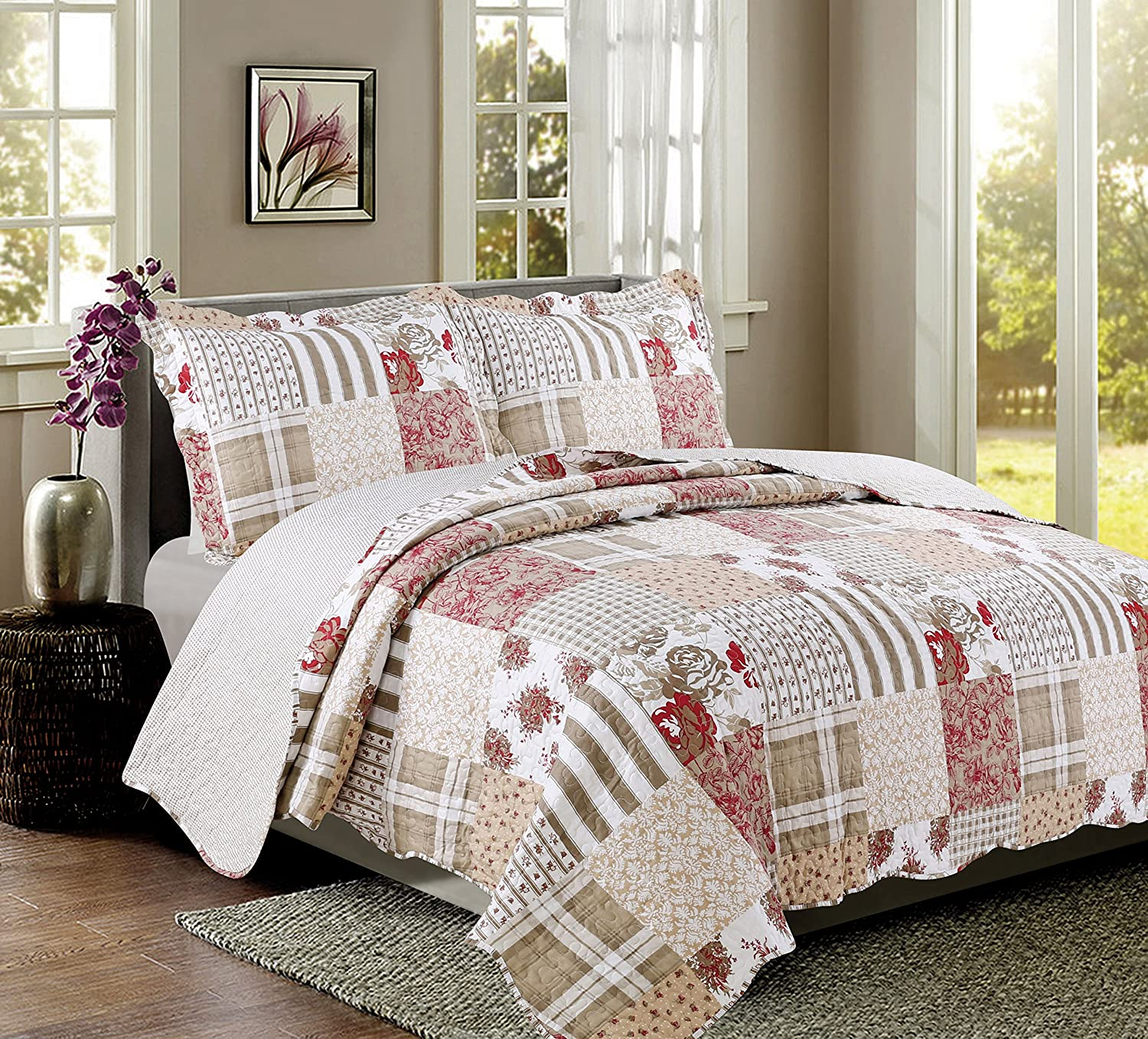Coast to Coast Living 3-Pc Quilt Sets Luxurious Soft Hypoallergenic (Americana, Queen
