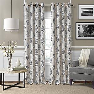 "Elrene Home Fashions Room Darkening Grommet Linen Single Panel Window Curtain Drape, 52""x84"" (1, Gray"