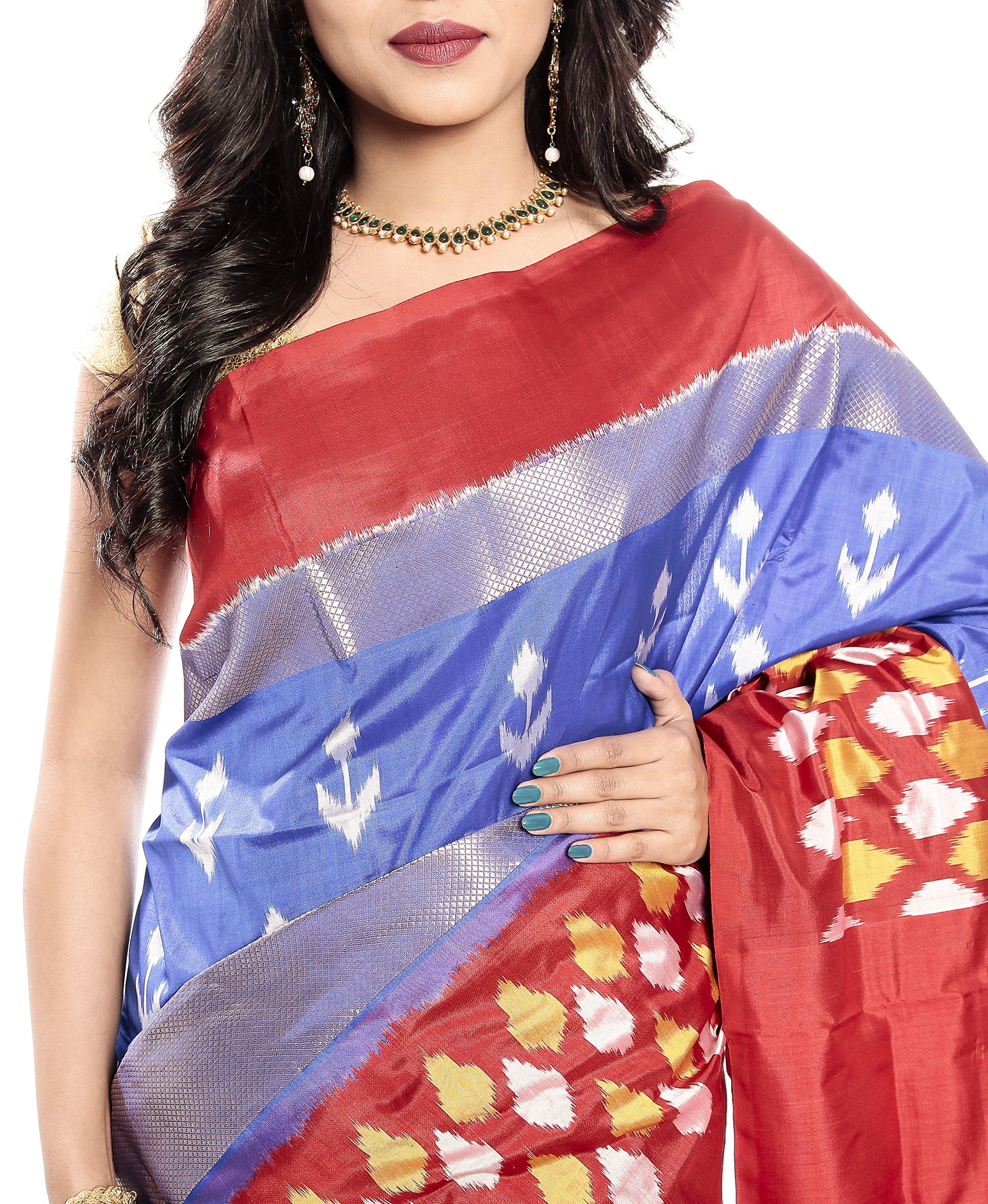 Mandakini — Indian Women's Pochampally - Handloom - Ikat Pure Silk Saree (Blue-Reddish Orange ) (MK355) by Mandakini (Image #3)