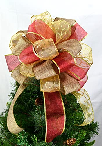 tree topper bows christmas tree bow topper red burlap gold - Christmas Tree Bows