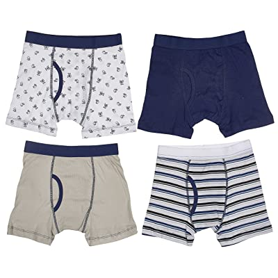 Trimfit Big Boys' 100 Percent Cotton Tagless Assorted Boxer Briefs 4-Pack (Navy/White, M)