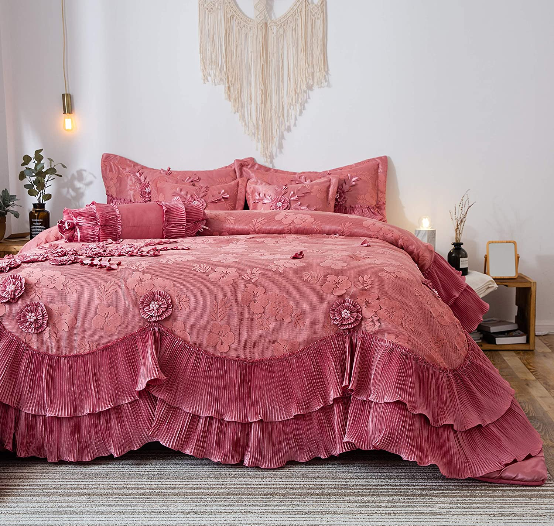 Tache Home Fashion Royal Princess Ruffled Victorian Comforter Set, King, Pink
