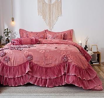 Tache 6 Piece Fancy Victorian Pink Royal Dreams Ruffled Comforter Bedding  Set, California King