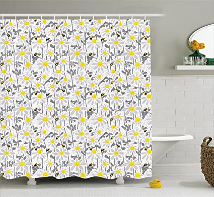 Ambesonne Yellow Shower Curtain Pattern With Bees And Chamomile Daisy Flowers In Flourishing Meadow Nature