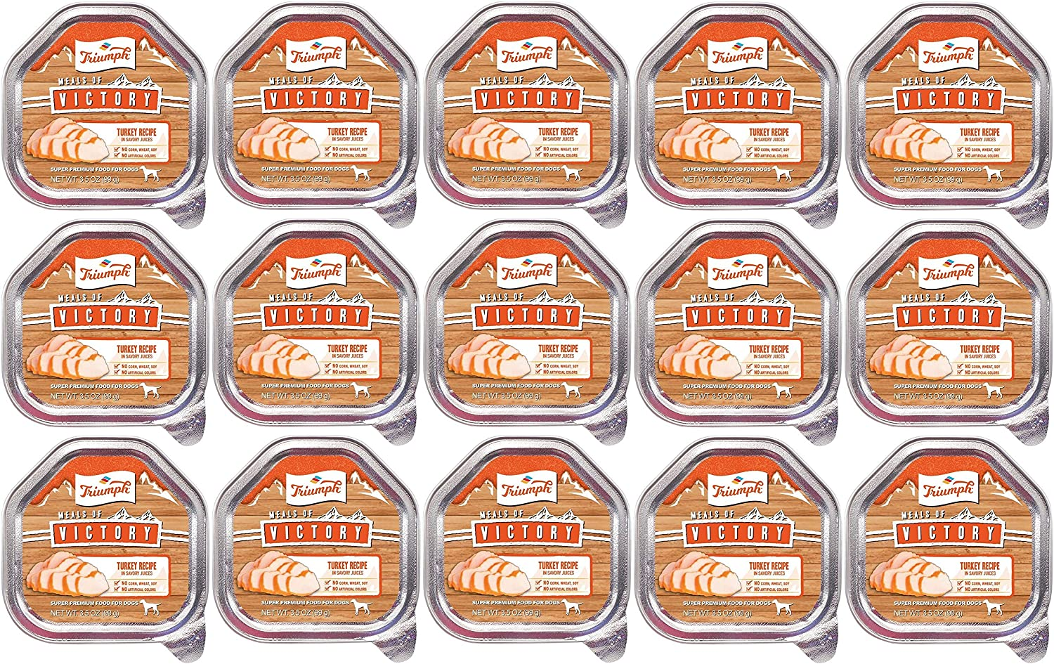 Triumph 15 Pack of Meals of Victory Turkey Recipe Wet Dog Food, 3.5 Ounces Per Cup