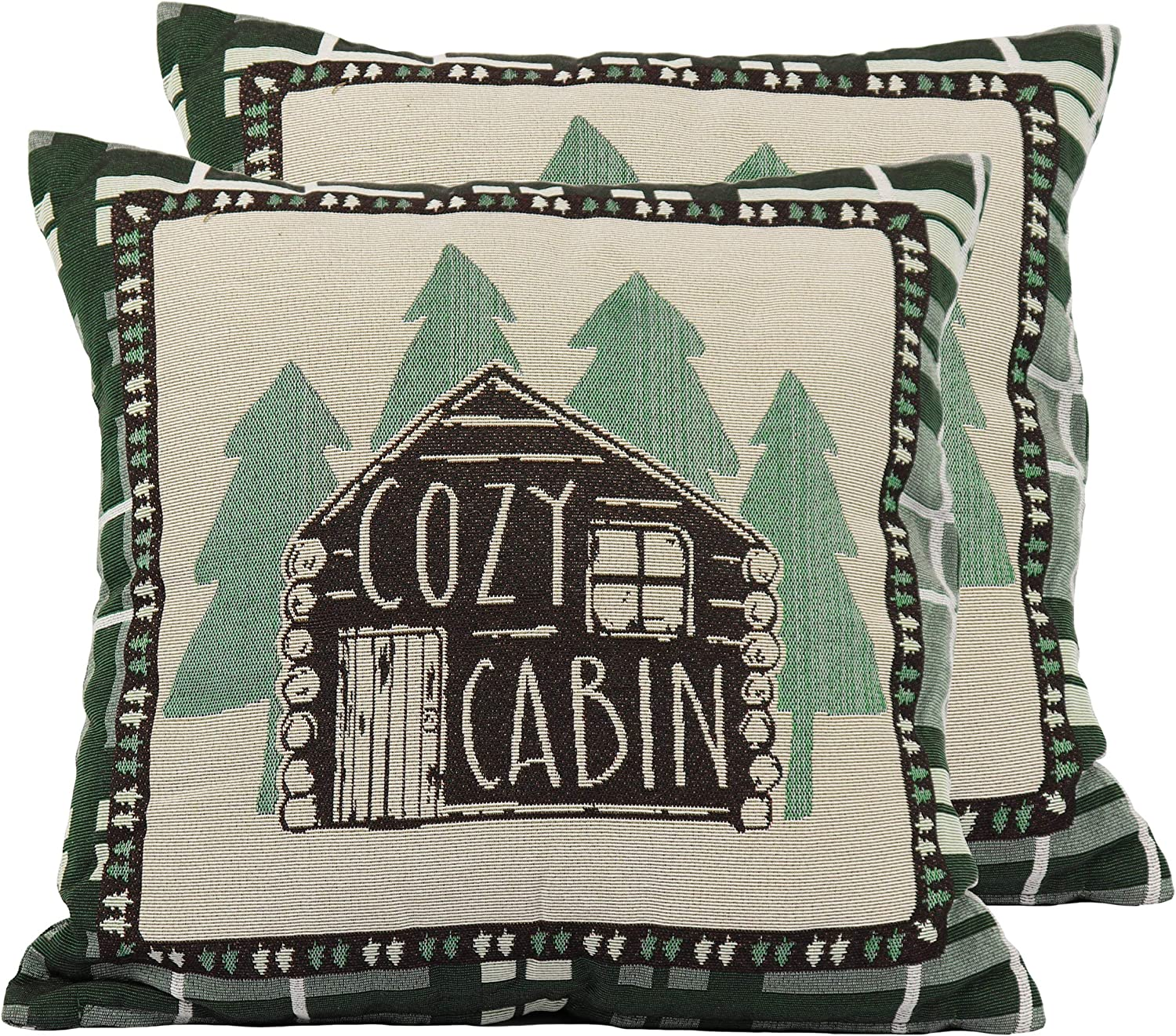 River S Edge Products Cabin Tapestry Throw Pillows Pair With Removable Covers 18 By 18 Inch Square Clothing