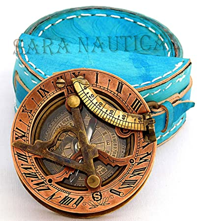 Maritime Compasses Vintage Beautiful Sundial Compass Nautical With Antique Leather Case West London Grade Products According To Quality Antiques