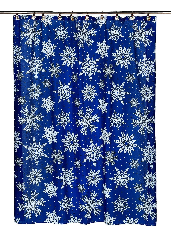 snowflakes shower curtain christmas bathroom blue fabric