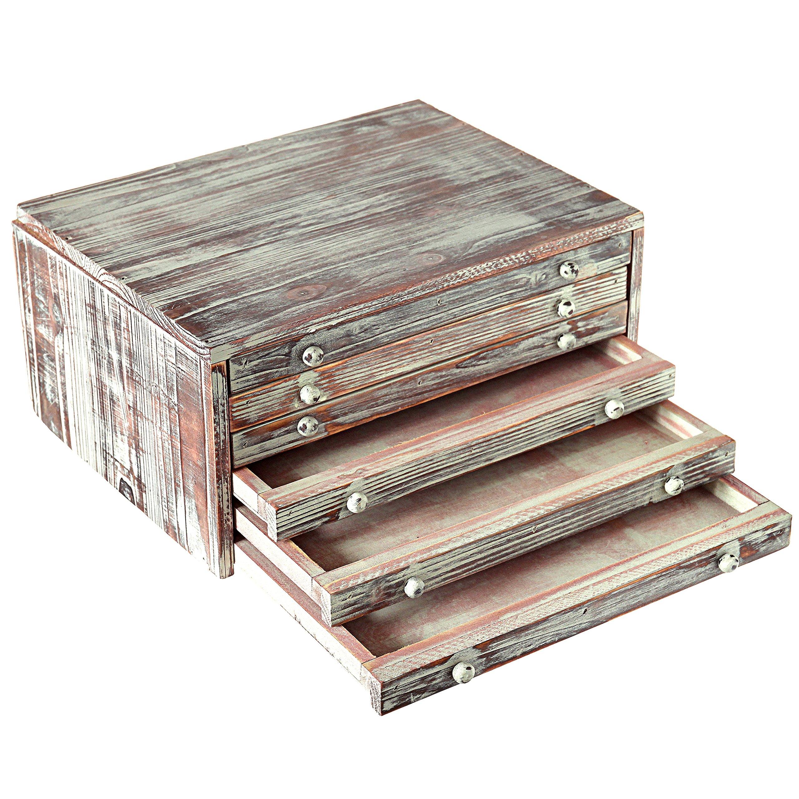 MyGift Torched Wood 6-Drawer Desktop Document & Filing Cabinet Organizer Box