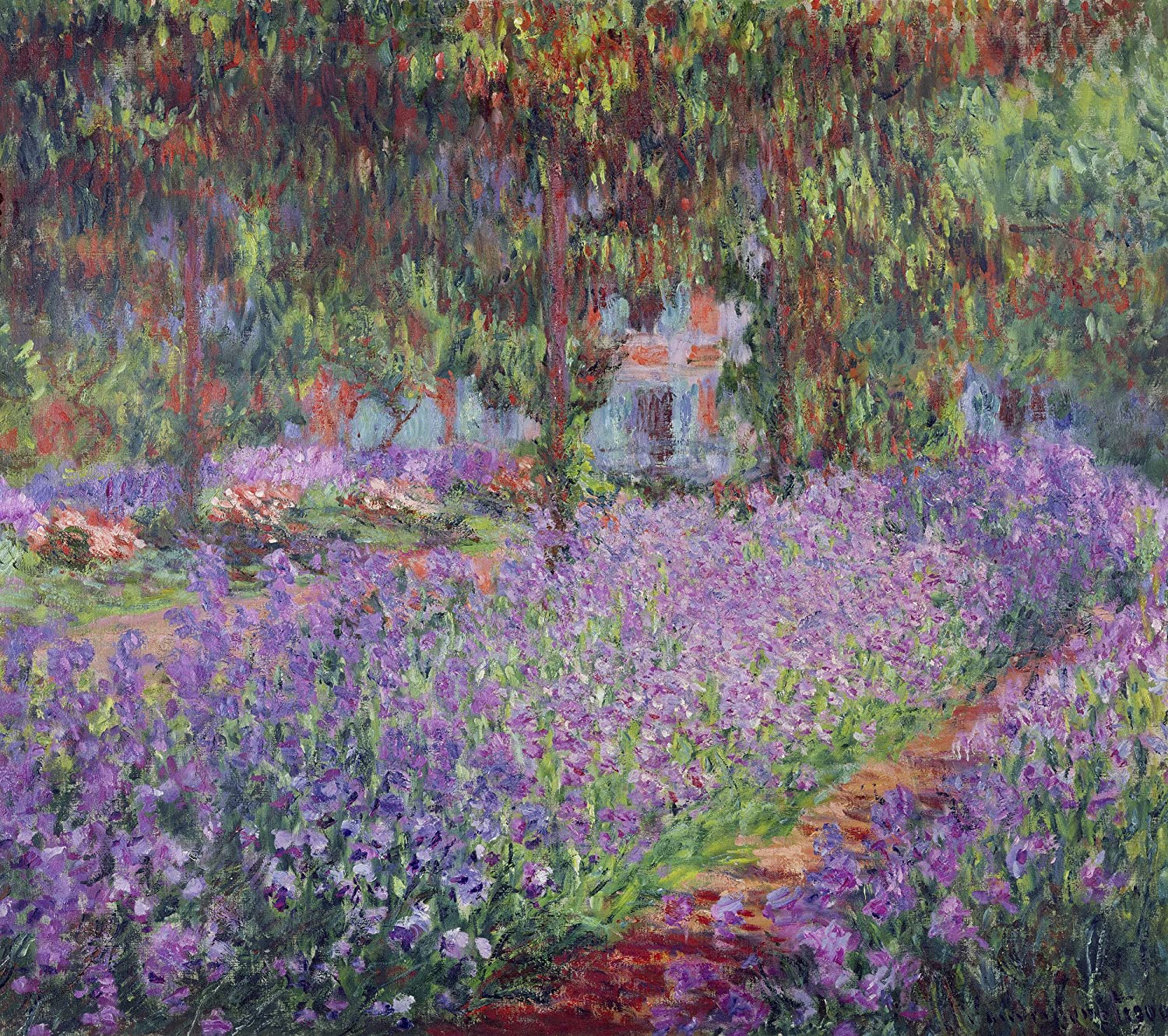 Monet - The Artists Garden at Giverny, Size 24x28 inch, Poster art print wall décor