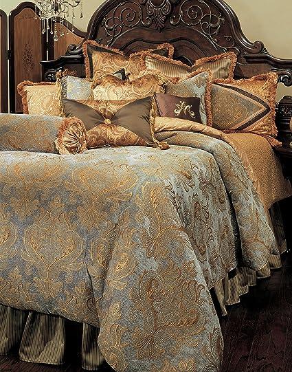 Amazon Com Michael Amini Elizabeth 12 Piece Comforter Queen Aqua