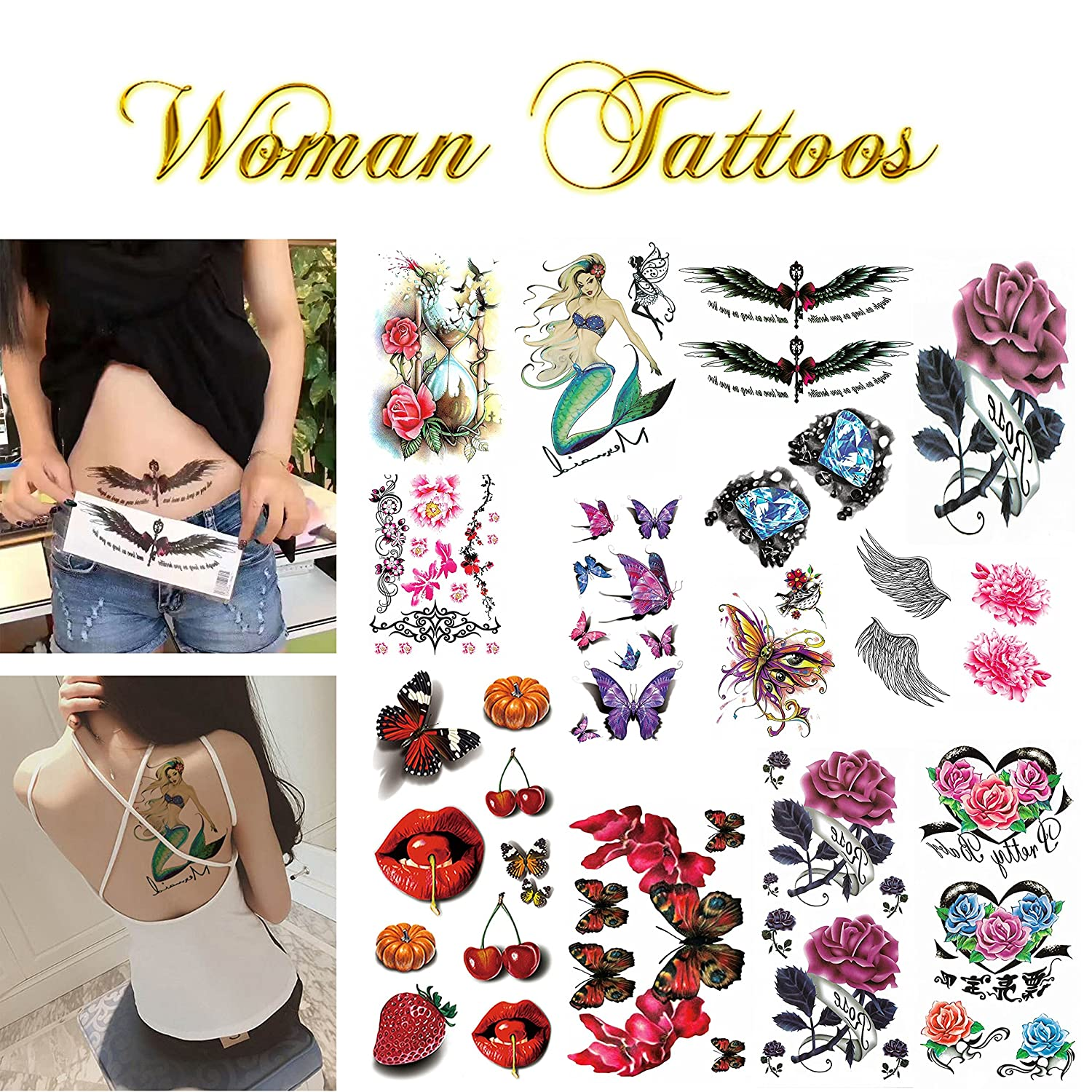 c85ec2ec3 Amazon.com: Realistic Ink Temporary Tattoos Kit- for Woman and Girls- 16  Colorful Sheets by Companion Company: Health & Personal Care