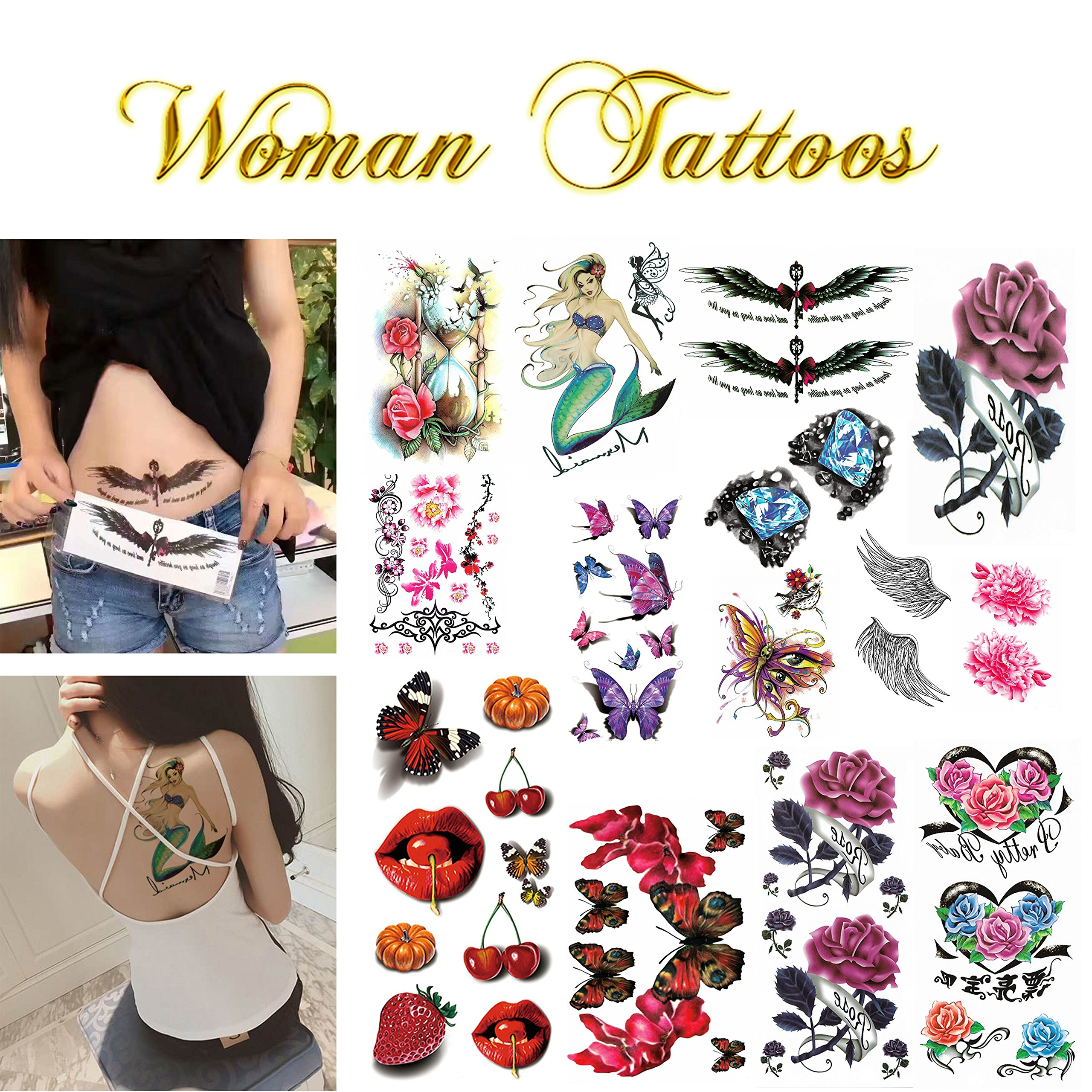 Realistic Ink Temporary Tattoos Kit- for Woman and Girls- 16 Colorful Sheets by Companion Company