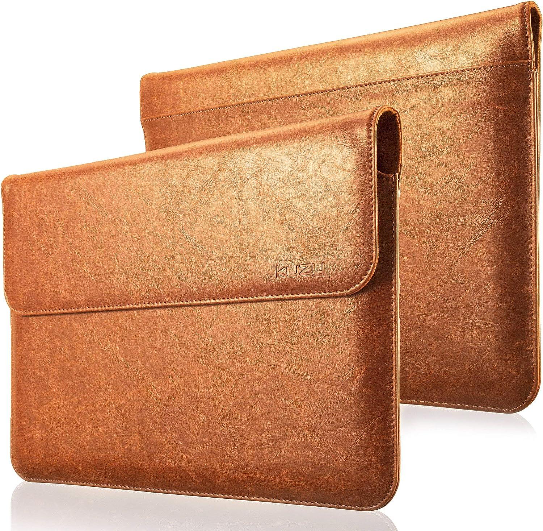 Kuzy MacBook Pro 13 inch Sleeve Leather, 13 inch Laptop Sleeve Case for MacBook Air 13 inch Sleeve Case Cover (New Version) PU Leather Laptop Sleeve, Brown