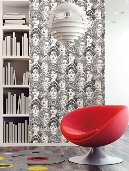 Wall In A Box Wib1013 Pucker Up Wallpaper Black White Red York